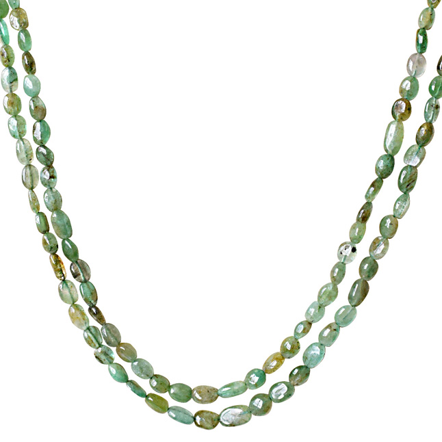 2 Line 134cts Real Natural Green Oval Emerald Necklace(134cts EMR Neck)