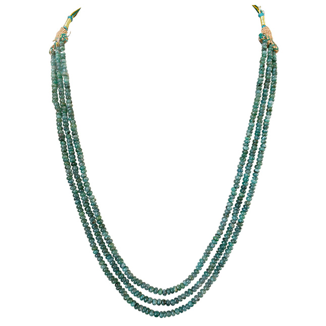 3 Line 136cts REAL Natural Green Emerald Beads Necklace for Women (136cts EMR Neck)