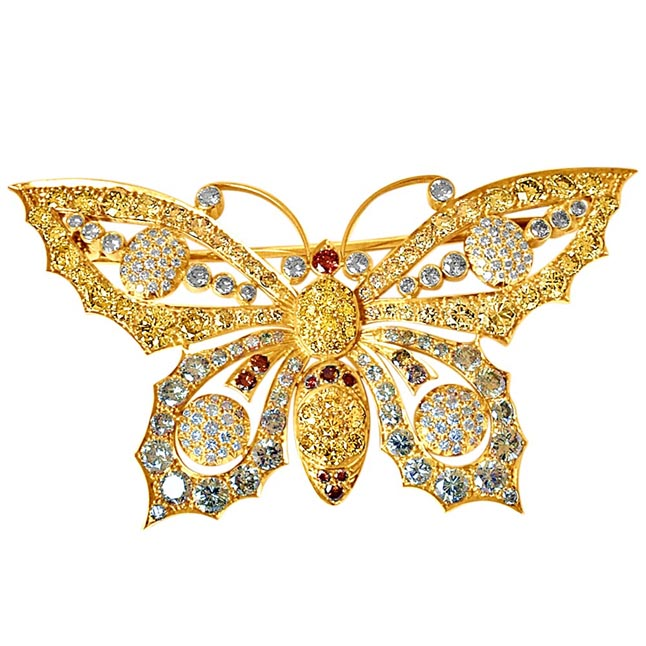 IGL Certified 14.22ct White & Fancy Colour Real Diamond Butterfly Brooch