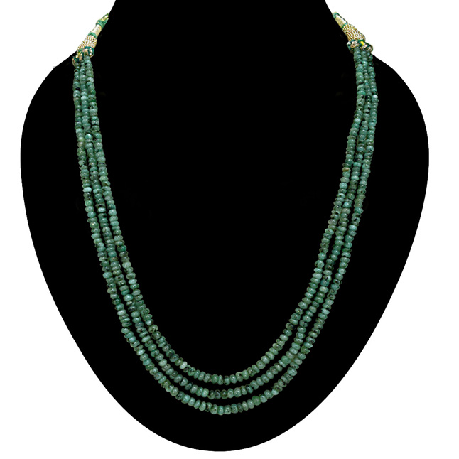 3 Line 151cts REAL Natural Green Emerald Beads Necklace for Women (151cts EMR Neck)