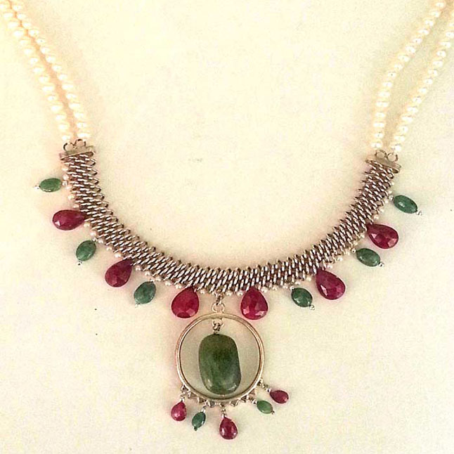 Real Emerald, Ruby & Pearl Silver Necklace -Pearl Necklaces