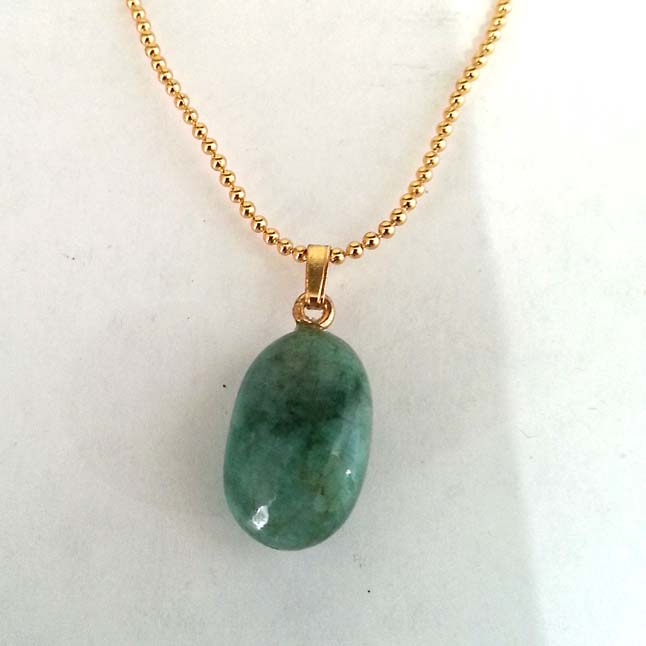 16.65 cts Real Natural Green Big Emerald Pendants with Gold Plated Chain