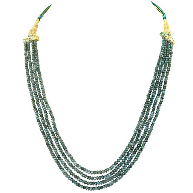 4 Line 178cts REAL Natural Green Emerald Beads Necklace for Women (178cts EMR Neck)