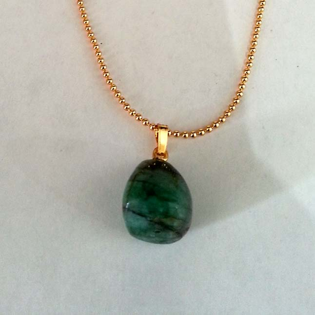 19.60 cts Real Natural Green Big Emerald Pendants with Gold Plated Chain -Gemstones