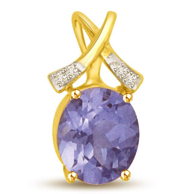 1CT Blue Oval Sapphire & Diamond Cross Hanging Pendants