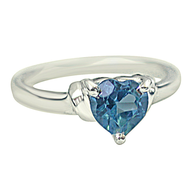 1ct Heart Shape Swiss Blue Topaz Set in Sterling Silver