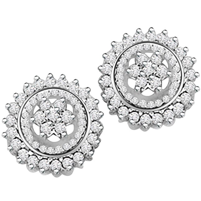 2.00ct Diamond White Gold Earrings -Kudajodi