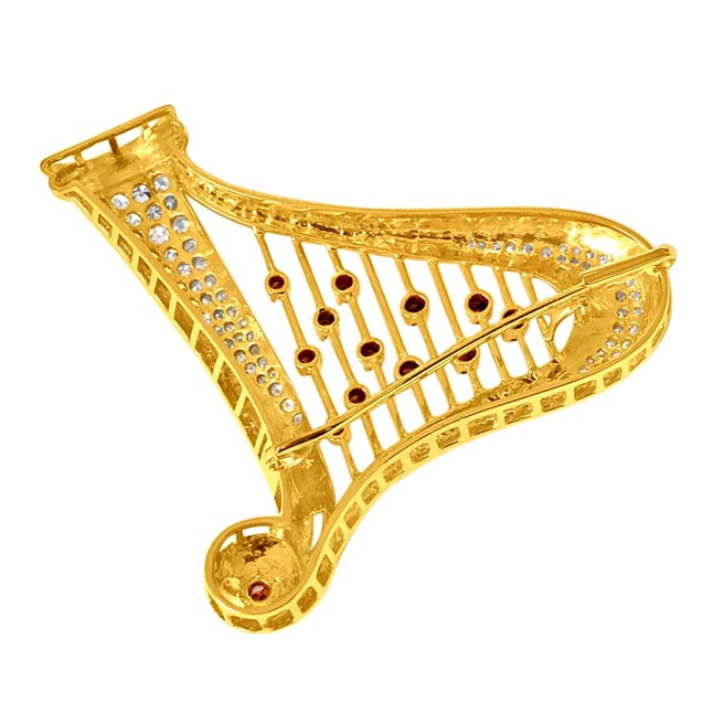 2.49ct G & Fancy Colour Real Diamond Harp 18kt Gold Brooch -Diamond Brooches