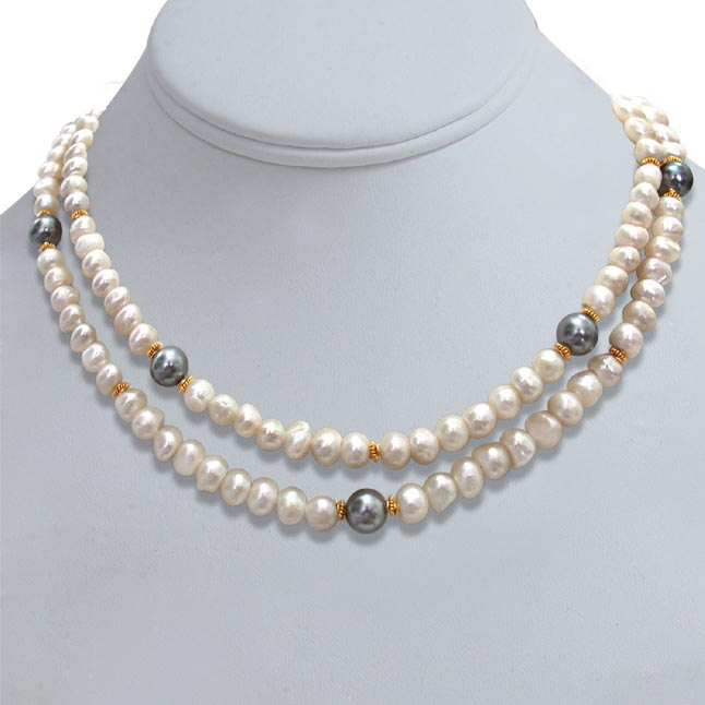 2 Line Real Pearl Shell Pearl Necklace -2 To 3 Line Necklace
