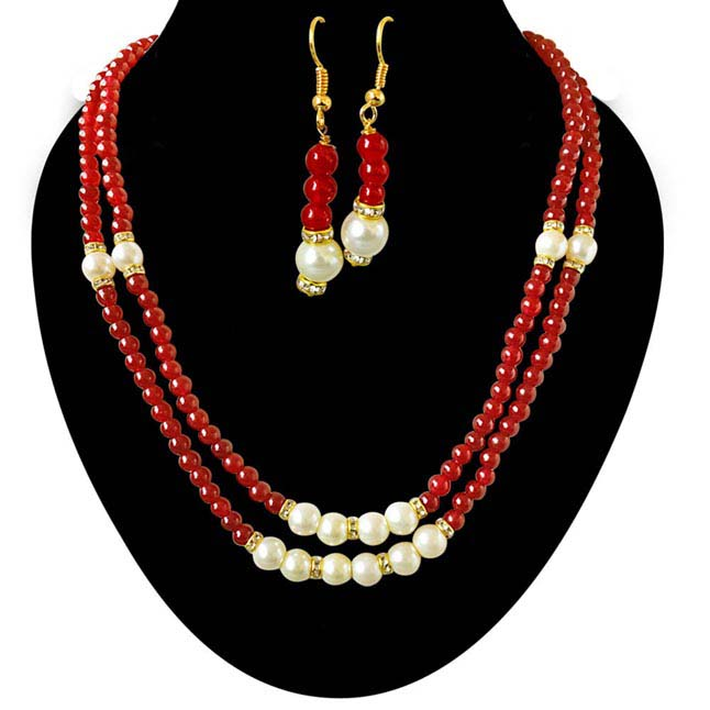 2 Line Red Stone & White Shell Pearl Necklace & Earrings Set