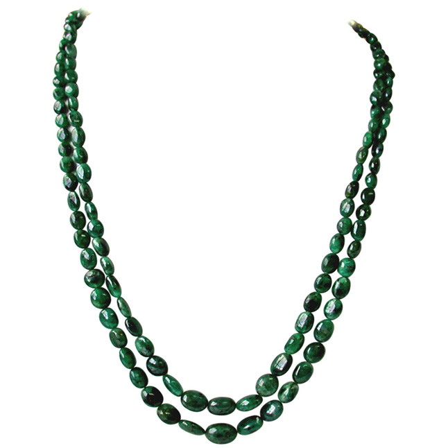 2 Line 200cts Real Natural Green Oval Emerald Necklace for Women (200ctsEMRNECK)