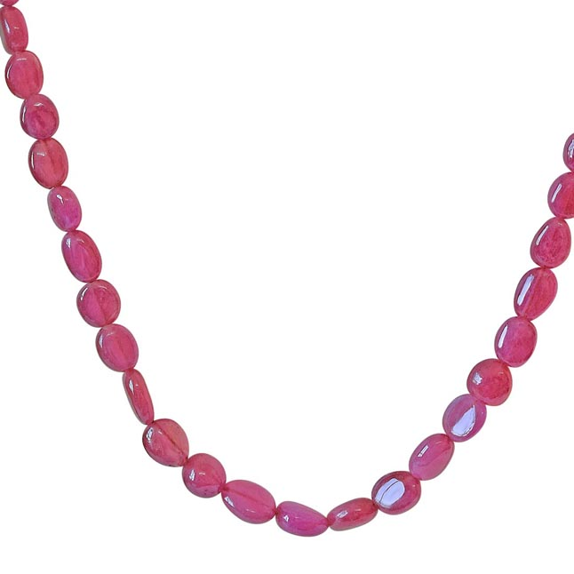 201.69cts Single Line Real Light Red Oval Ruby Beads Necklace for Women (201.69cts Ruby Neck)