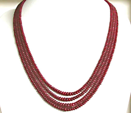 213 cts 4 Line REAL Ruby Beads Necklace