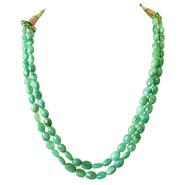 2 Line 230ct REAL Natural Green Oval Emerald Necklace For Women