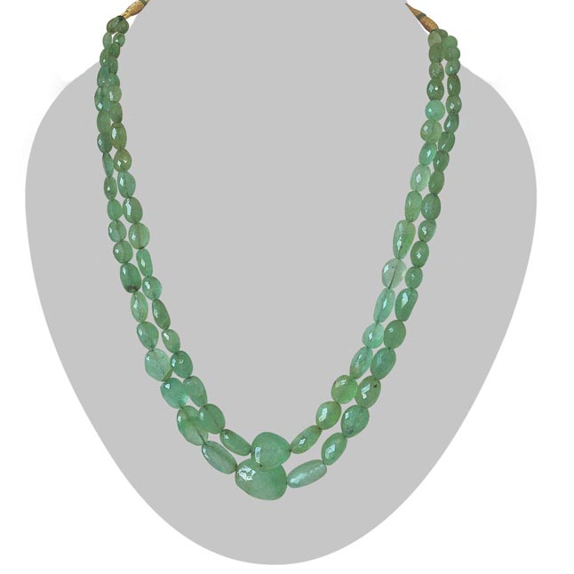 Two Line 243.77cts REAL Natural Light Green Oval Faceted Emerald Necklace for Women (243.77cts EMR Neck)