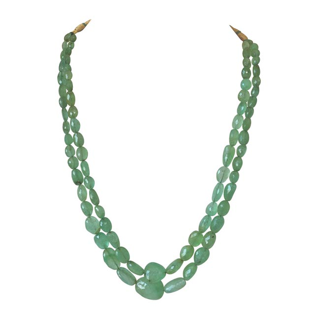 5 Line 243cts REAL Natural Green Emerald Beads Necklace for Women (243cts EMR Neck)