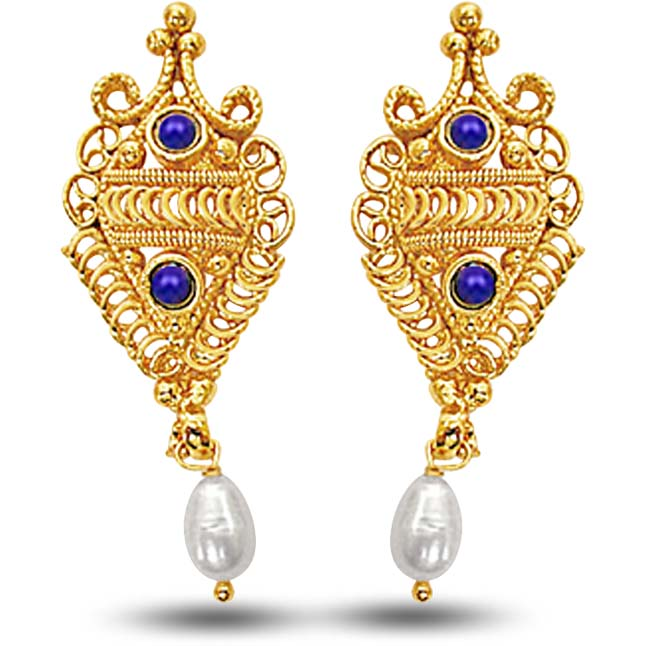 24kt Gold Plated Earrings With Blue Lapiz & Freshwater Pearl