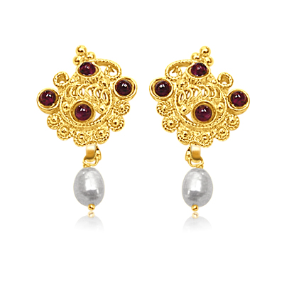 24kt Gold Plated Pearl & Garnet Earrings