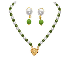 24kt Gold Plated Pendants, Freshwater Pearl & Green Beads Set