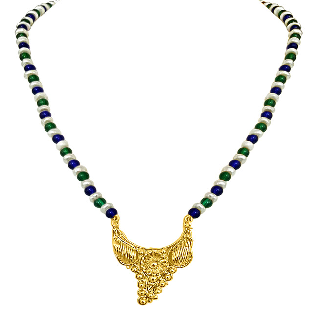 24kt Gold Plated Pendants, Blue & Green Stone & Freshwater Pearl Necklace -Pendants Necklace