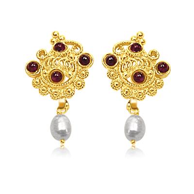 24kt Gold Plated Pearl & Garnet Earrings