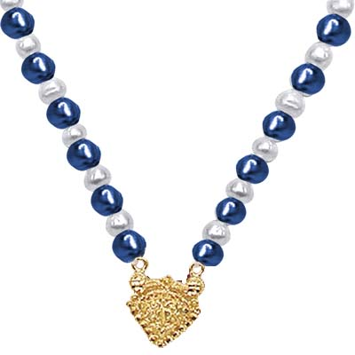 24kt Gold Plated Pendants, Blue Stone & Freshwater Pearl Necklace -Pearl Necklaces