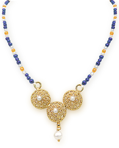 24kt Gold Plated Pendants, Blue & Orange Stone & Freshwater Pearl Necklace