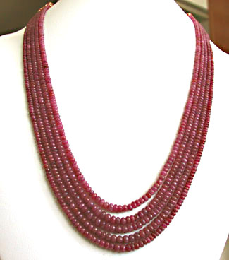 RS TOP CLASS 469.00 CTS EARTH MINED 6 LINE RUBY /& GREEN EMERALD BEADS NECKLACE