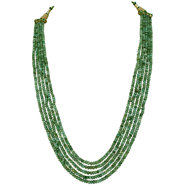 5 Line 263cts REAL Natural Green Emerald Beads Necklace for Women (263cts EMR Neck)