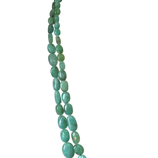Two Line 274.48cts REAL Natural Light Greenish Oval Emerald Necklace for Women (274.48cts EMR Neck)