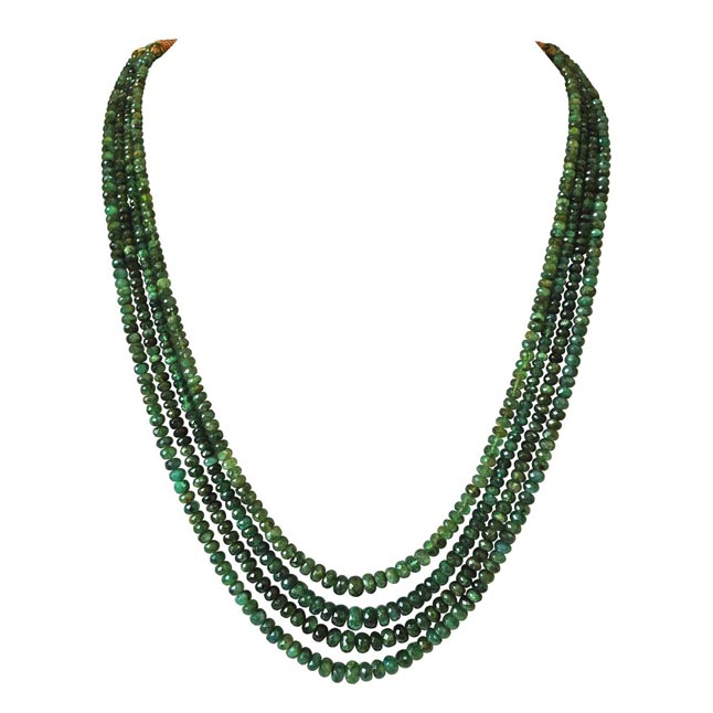 4 Line 276.56cts REAL Natural Green Round Faceted Emerald Necklace for Women (276.56cts EMR Neck)