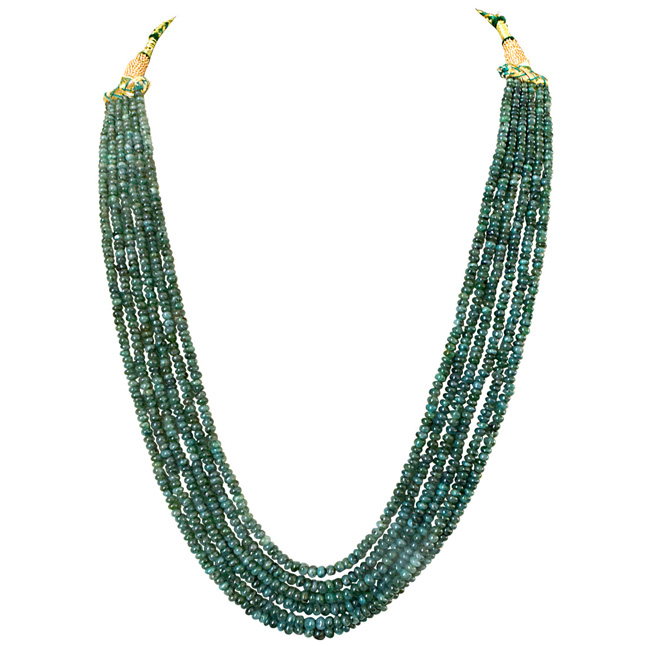 6 Line 277cts REAL Natural Green Emerald Beads Necklace for Women (277cts EMR Neck)