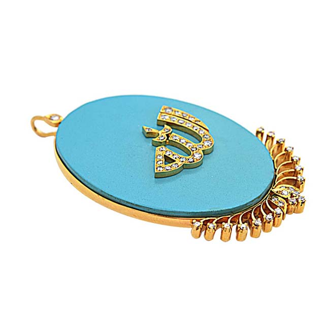 IGL CERT  28.98ct Real Diamond & Blue Turquoise 18kt Gold Allah Pendant for Your Love