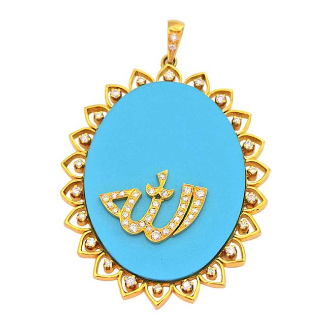 28.98ct Real Diamond & Blue Turquoise 18kt Gold Allah Pendant for Your Love