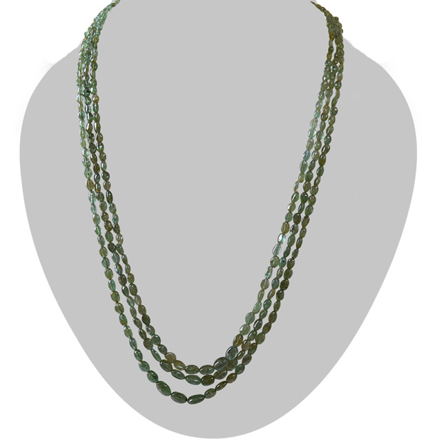 281.362cts 3 Line Emerald Bead Necklace for Women (281.362cts EMR Neck)