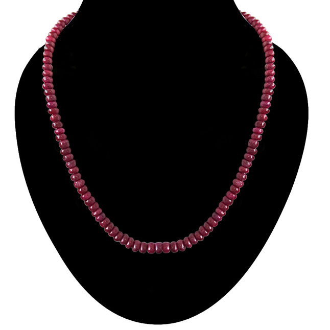 283cts Single Line Real Maroon Red Ruby Beads Necklace for Women (283ctsRubyNeck)