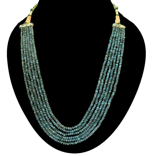 6 Line 290cts REAL Natural Green Emerald Beads Necklace for Women (290cts EMR Neck)