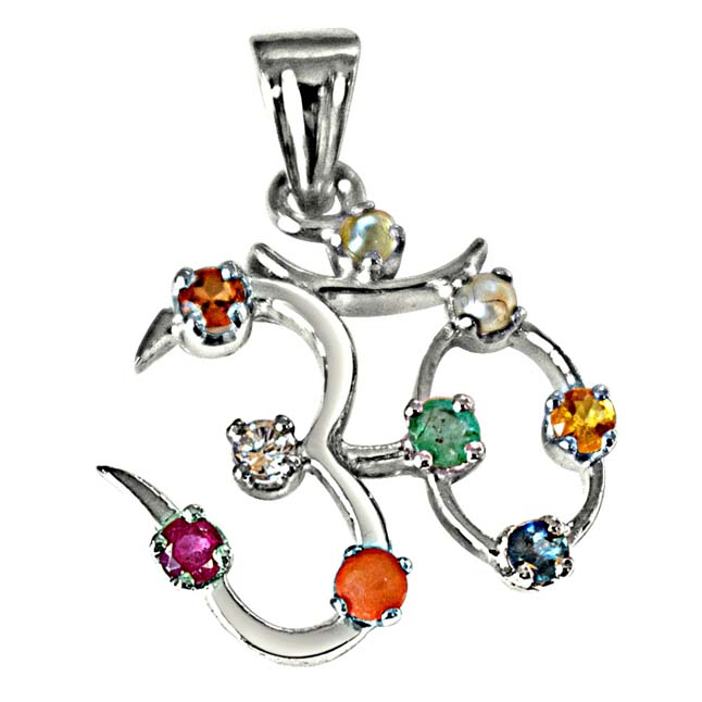 "3.00cts Navratna stone OM Astrological Pendants in 925 Sterling Silver with 18"" Chain -Religious"
