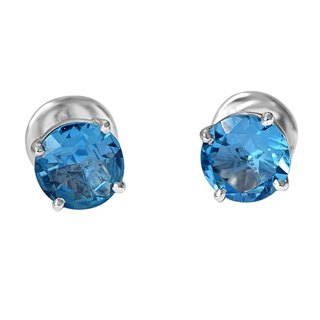 2.00 cts Round Shaped Blue Topaz Gemstone Solitaire Earrings in 925 Sterling Silver