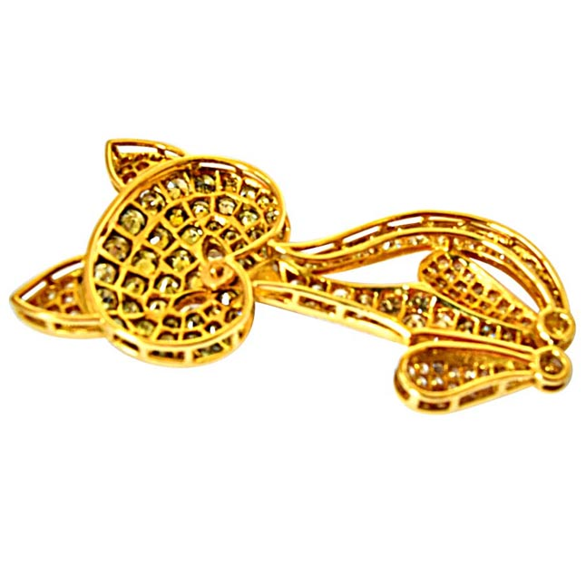 3.74ct G/VS & Light Fancy Brown/SI Diamond & Gold Cat Pendants for Engagement -Diamond Brooches