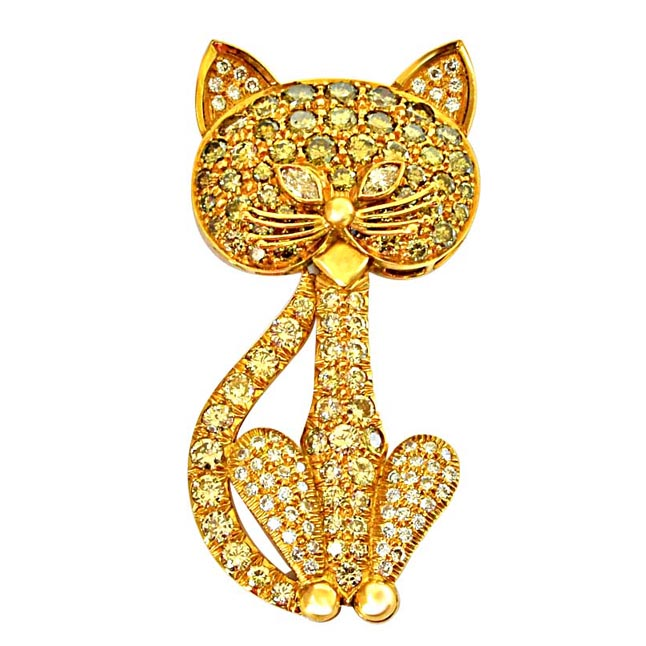 3.74ct G/VS & Light Fancy Brown/SI Diamond & Gold Cat Pendant for Engagement