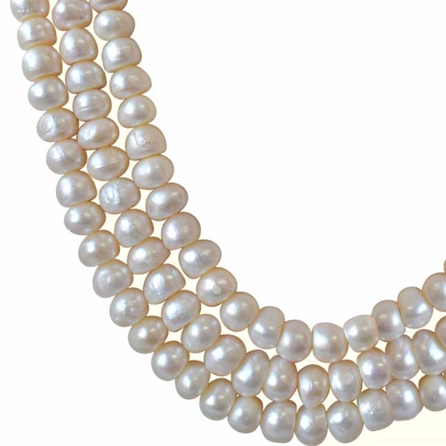 3 Line Real Big Freshwater Pearl Necklace -2 To 3 Line Necklace