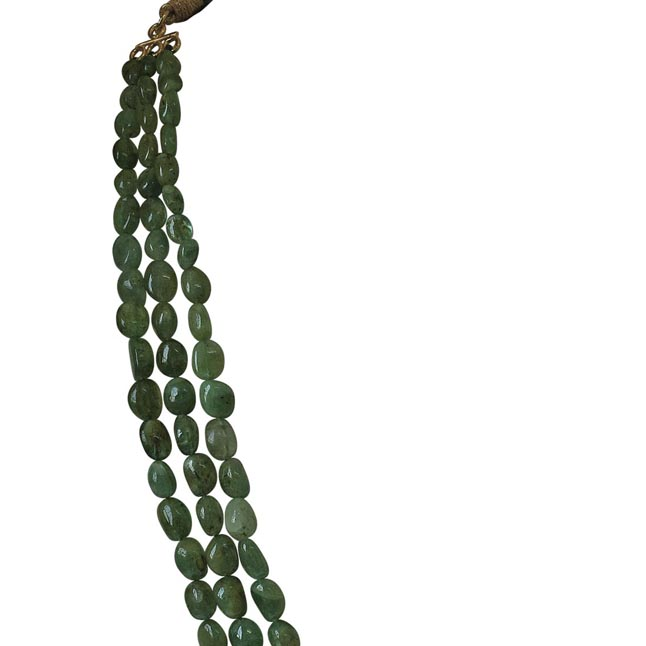 3 Line 304.19cts REAL Natural Green Oval Emerald Necklace for Women (304.19cts EMR Neck)