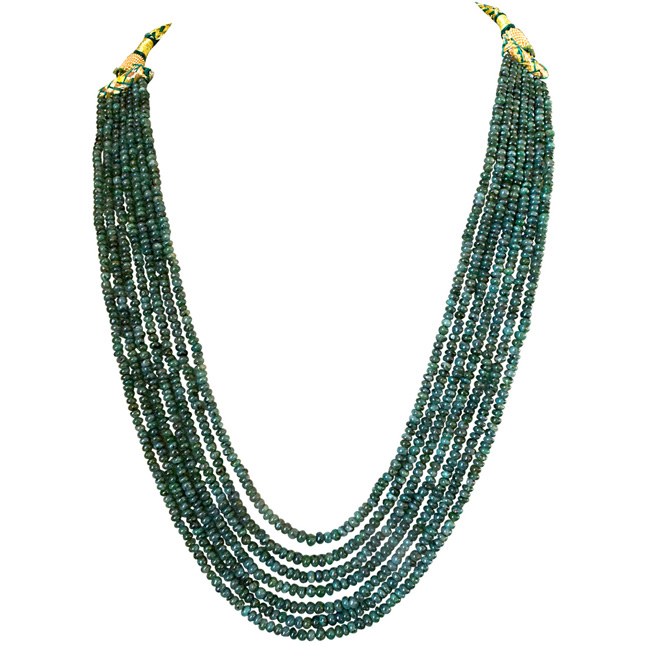 7 Line 306cts REAL Natural Green Emerald Beads Necklace for Women (306cts EMR Neck)