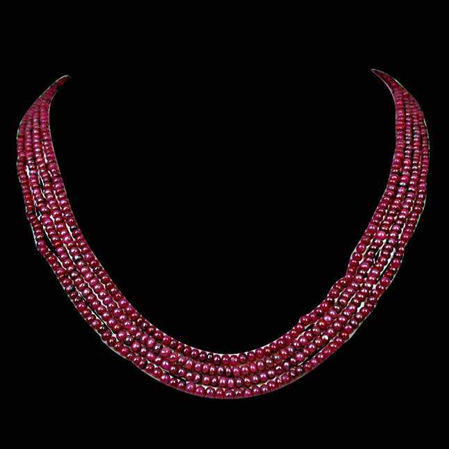 308.18cts 4 Line Real Red Ruby Beads Necklace for Women (308.18ctsRubyNeck)