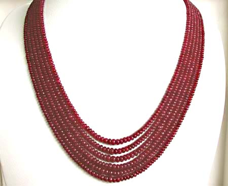 310 cts 6 Line REAL Ruby Beads Necklace