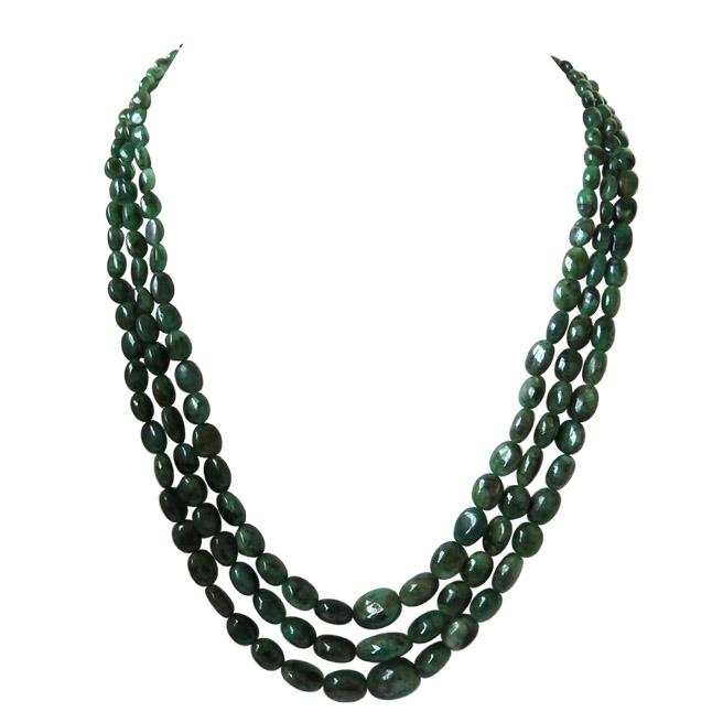 3 Line 327 ct REAL Natural Green Oval Emerald Necklace -2 To 3 Line Necklace