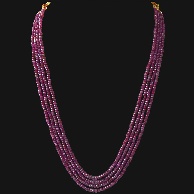 334cts Four Line Real Natural Red Ruby Beads Necklace (334cts Ruby Neck)