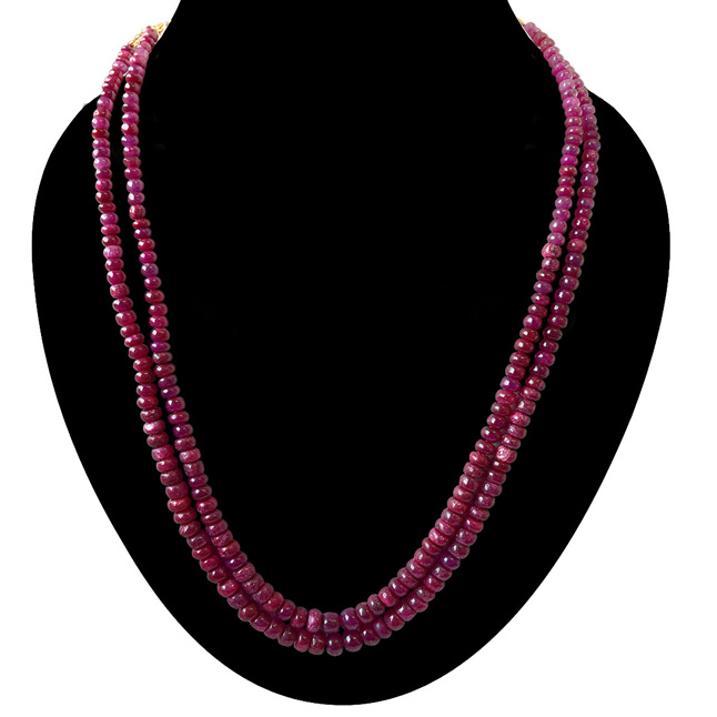 341.24cts 2 Line Real Red Ruby Beads Necklace for Women (341.24ctsRubyNeck)
