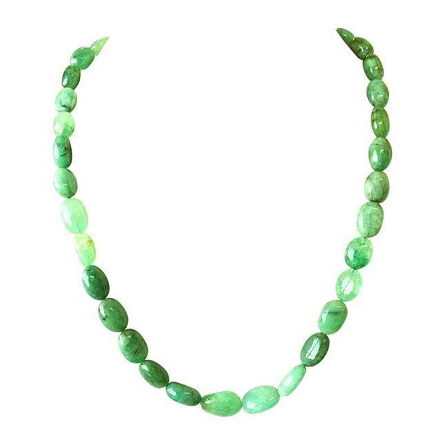 Single Line 350ct REAL Natural Green Oval Emerald Necklace For Women